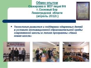 Обмен опытом Стажировка в МОУ лицей №8 г. Сосновый Бор Ленинградской области