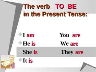 The verb TO BE in the Present Tense: I am You are He is We are She is They ar