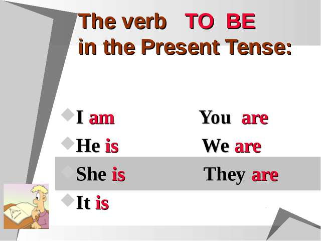 The verb TO BE in the Present Tense: I am You are He is We are She is They ar...