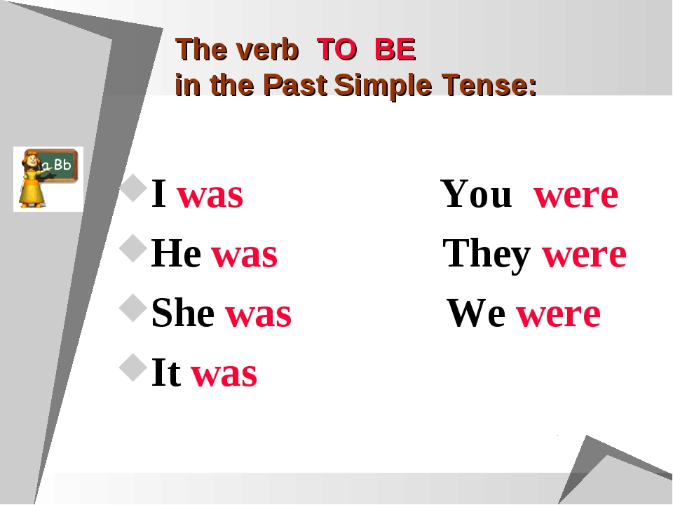 The verb TO BE in the Past Simple Tense: I was You were He was They were She...