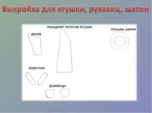 рукав воротник передняя полочка ягушки опушка шапки рукавицы