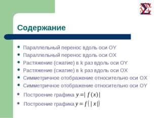 Содержание Параллельный перенос вдоль оси OY Параллельный перенос вдоль оси O