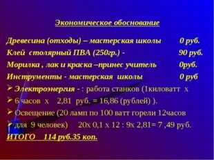 Экономическое обоснование Древесина (отходы) – мастерская школы 0 руб. Клей