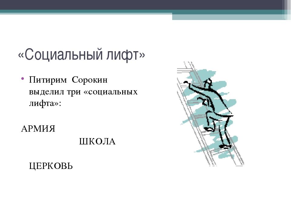 «Социальный лифт» Питирим Сорокин выделил три «социальных лифта»: АРМИЯ ШКОЛА...