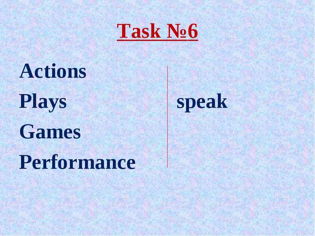 Task №6 Actions Plays			 speak Games Performance