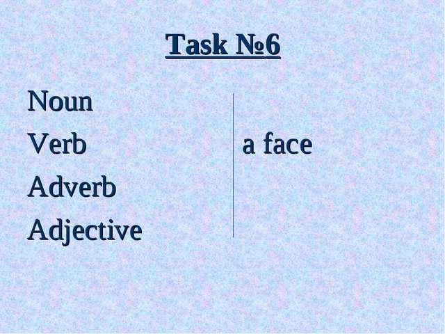 Task №6 Noun Verb			 a face Adverb Adjective