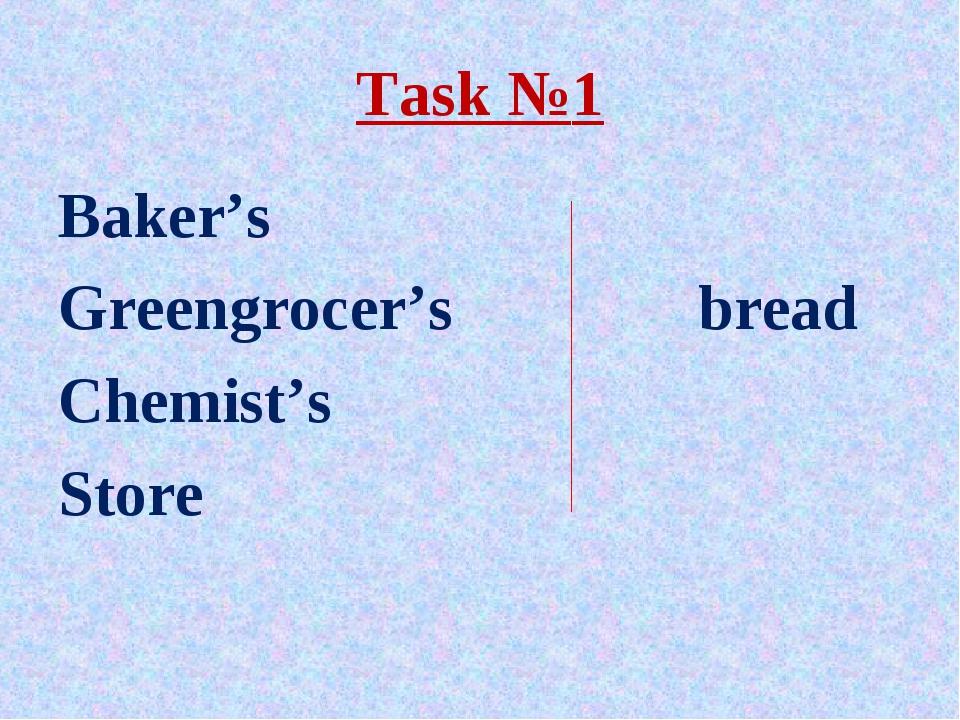 Task №1 Baker's Greengrocer's bread Chemist's Store