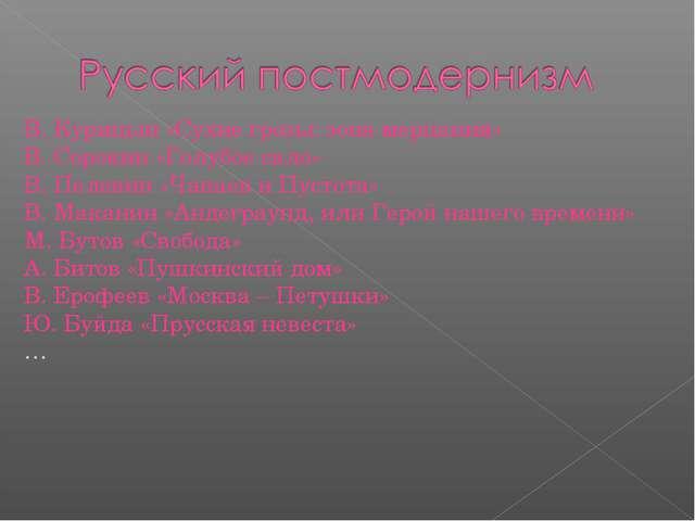 В. Курицын «Сухие грозы: зона мерцания» В. Сорокин «Голубое сало» В. Пелевин...