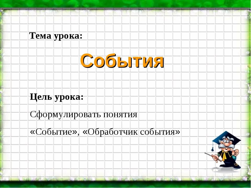 Цель урока: Сформулировать понятия «Событие», «Обработчик события» Тема урока...