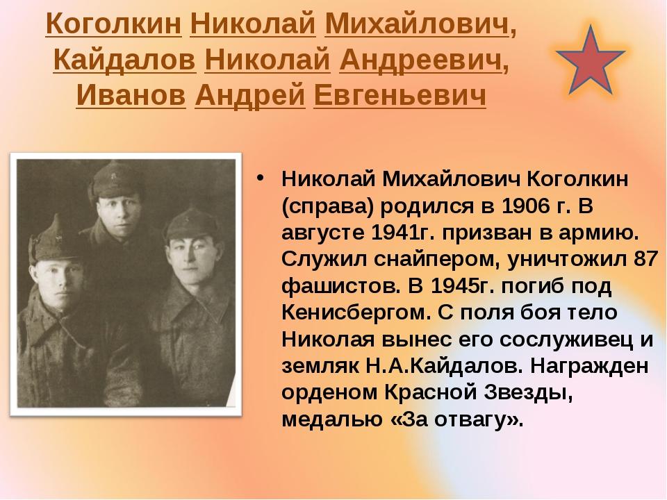 Коголкин Николай Михайлович, Кайдалов Николай Андреевич, Иванов Андрей Евгень...