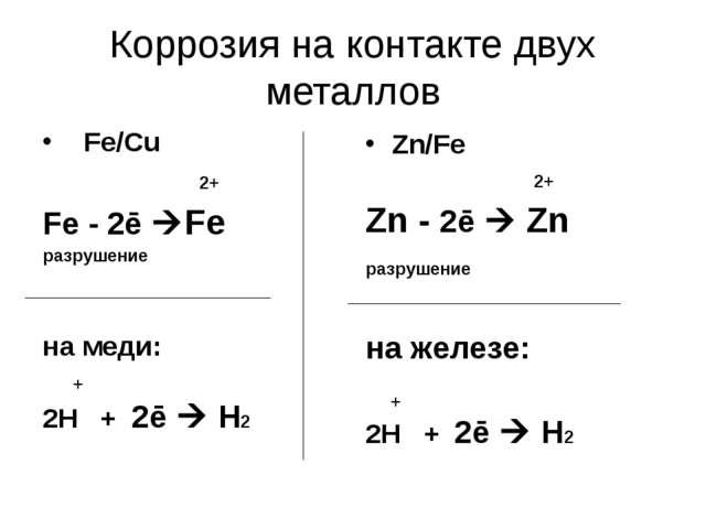 Коррозия на контакте двух металлов Fe/Cu 2+ Fe - 2ē Fe разрушение на меди: +...