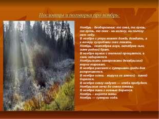 Пословицы и поговорки про ноябрь: Ноябрь - бездорожник: то снег, то грязь, то