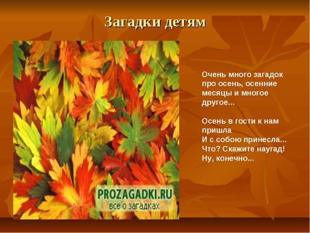 Загадки детям Очень много загадок про осень, осенние месяцы и многое другое.....