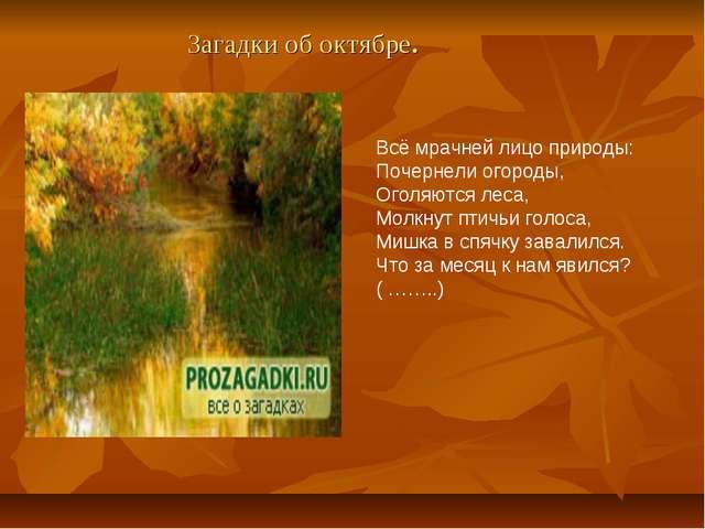 Загадки об октябре. Всё мрачней лицо природы: Почернели огороды, Оголяются ле...