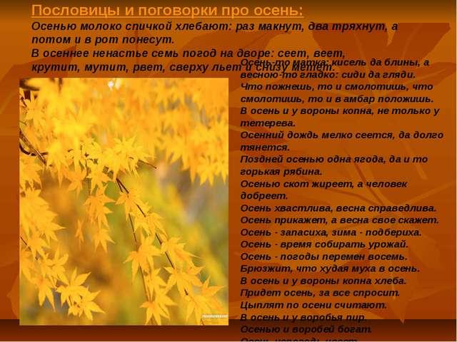 Пословицы и поговорки про осень: Осенью молоко спичкой хлебают: раз макнут, д...