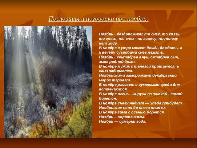 Пословицы и поговорки про ноябрь: Ноябрь - бездорожник: то снег, то грязь, то...