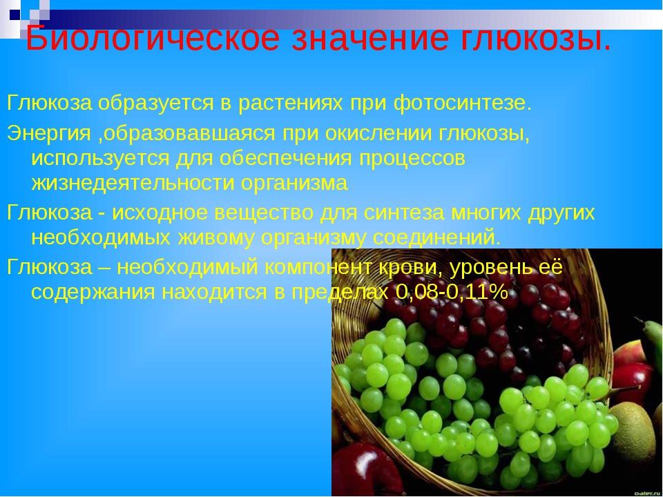 Биологическое значение глюкозы. Глюкоза образуется в растениях при фотосинтез...