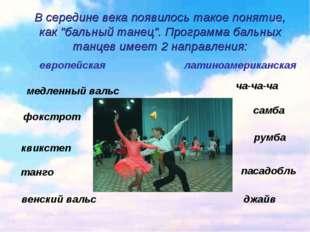 """В середине века появилось такое понятие, как """"бальный танец"""". Программа бальн"""
