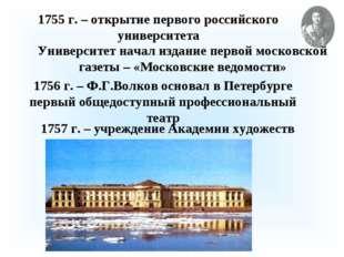 1755 г. – открытие первого российского университета Университет начал издание