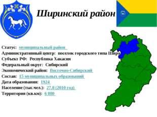 Ширинский район Статус:муниципальный район Административный центр:посел
