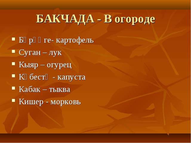 БАКЧАДА - В огороде Бәрәңге- картофель Суган – лук Кыяр – огурец Кәбестә - ка...