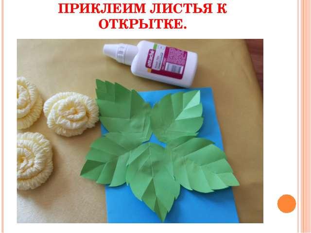 ПРИКЛЕИМ ЛИСТЬЯ К ОТКРЫТКЕ.