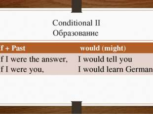 Conditional II Образование If + Past 	 would (might) If I were the answer, If
