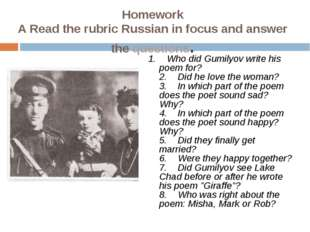 Homework A Read the rubric Russian in focus and answer thequestions. 1. W