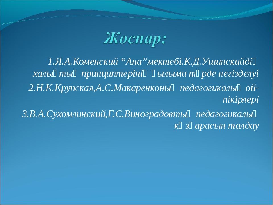 """1.Я.А.Коменский """"Ана""""мектебі.К.Д.Ушинскийдің халықтық принциптерінің ғылыми т..."""