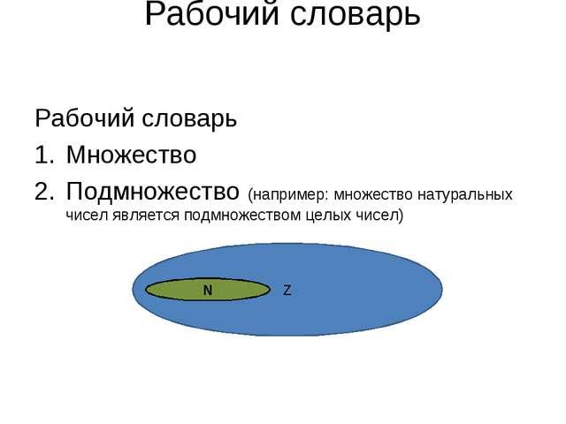 Рабочий словарь Рабочий словарь Множество Подмножество (например: множество н...
