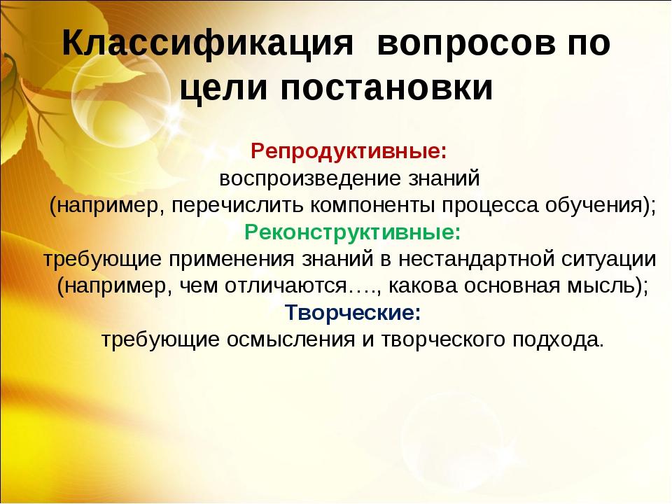 Классификация вопросов по цели постановки Репродуктивные: воспроизведение зна...
