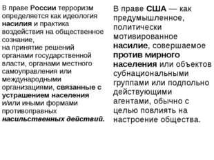 В праве России терроризм определяется как идеология насилия и практика воз