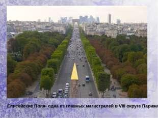 Елисейские Поля- одна из главных магистралей вVIII округе Парижа