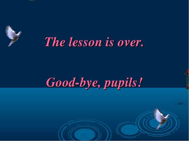 The lesson is over. Good-bye, pupils!