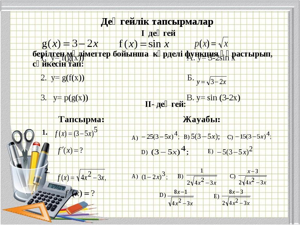 берілген мәліметтер бойынша күрделі функция құрастырып, сәйкесін тап: I деңге...