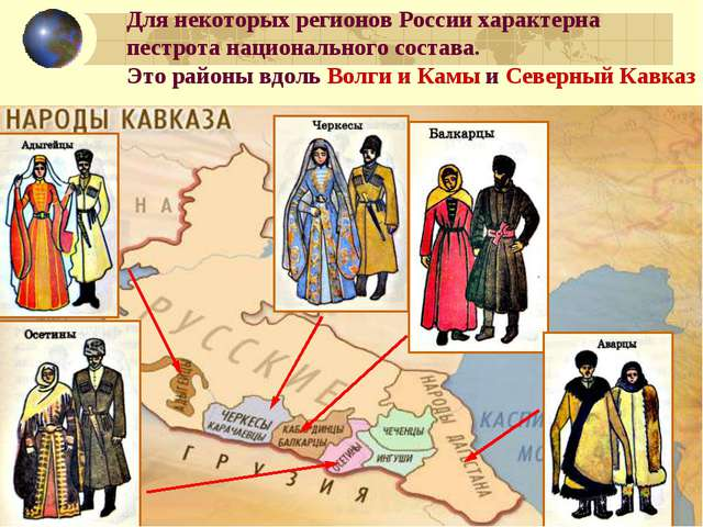 Для некоторых регионов России характерна пестрота национального состава. Это...