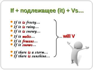 If + подлежащее (it) + Vs… If it is frosty… If it is rainy… If it is snowy… I