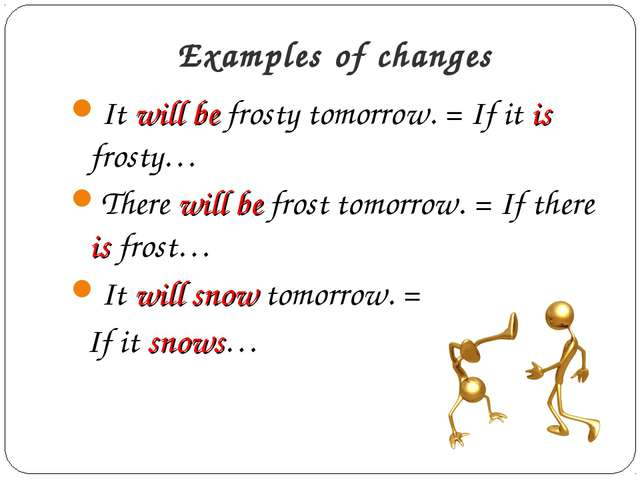 Examples of changes It will be frosty tomorrow. = If it is frosty… There will...