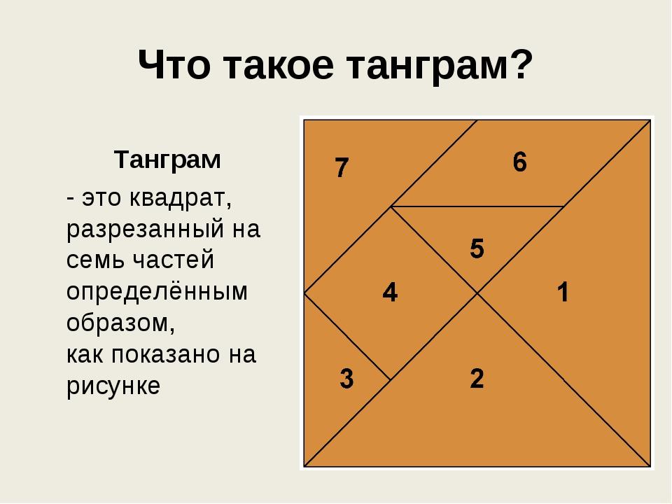 Что такое танграм? Танграм - это квадрат, разрезанный на семь частей определ...