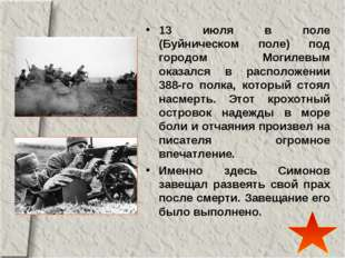 13 июля в поле (Буйническом поле) под городом Могилевым оказался в расположен