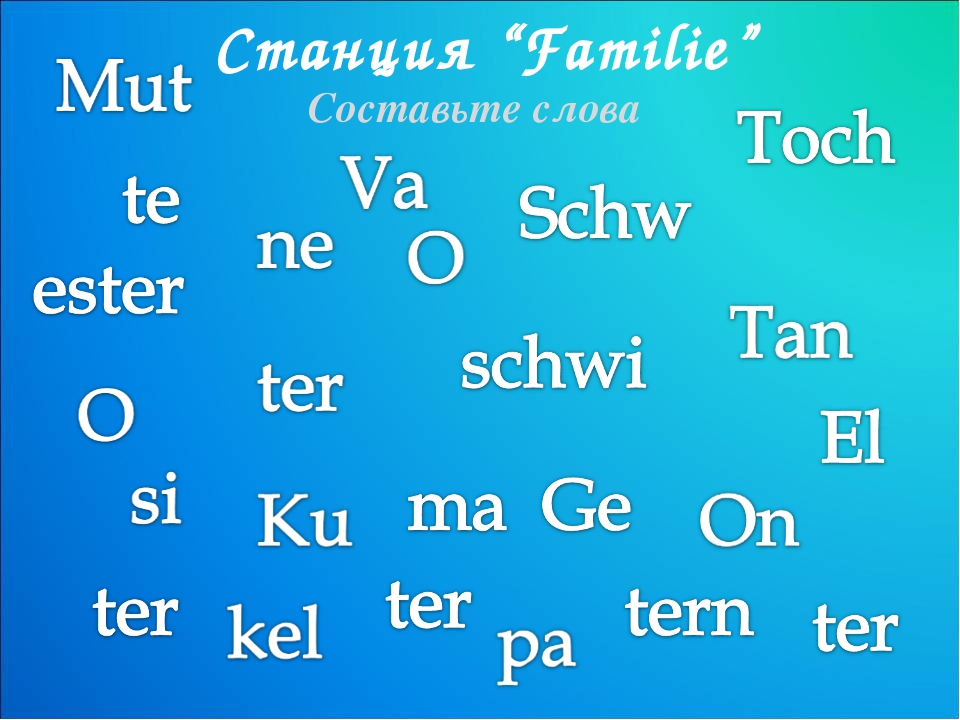 """Станция """"Familie"""" Составьте слова"""