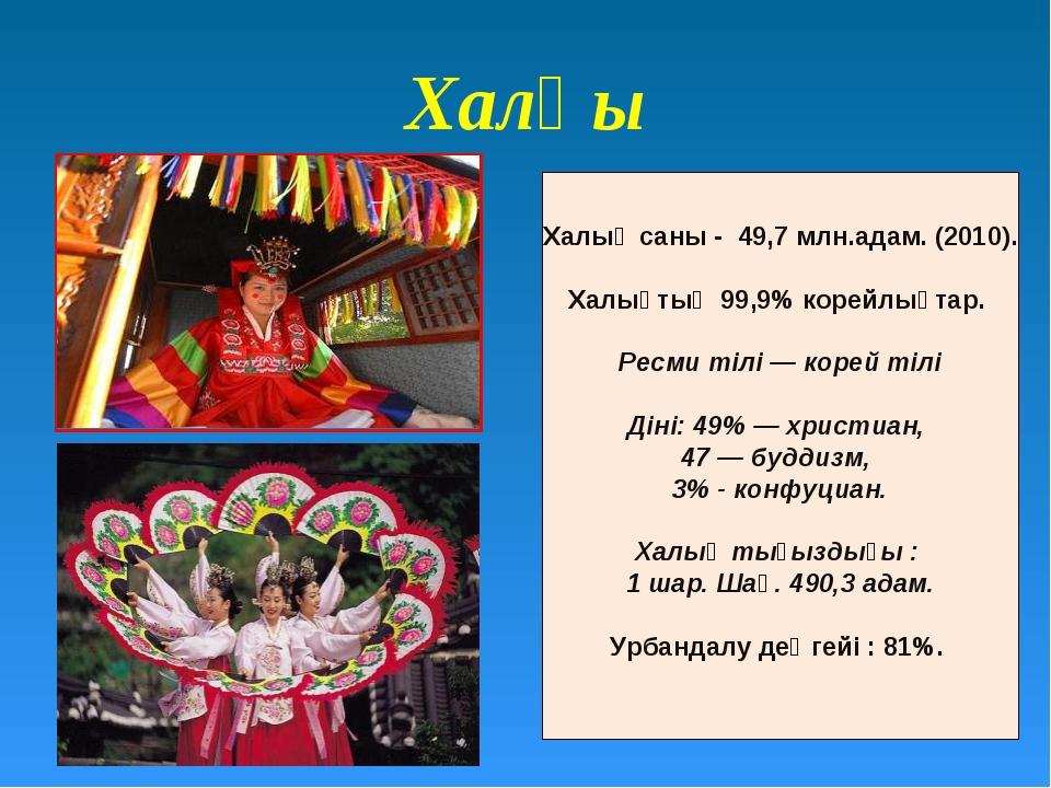 Халқы Халық саны - 49,7 млн.адам. (2010). Халықтың 99,9% корейлықтар. Ресми т...