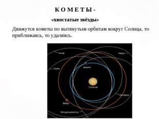 К О М Е Т Ы - «хвостатые звёзды» Движутся кометы по вытянутым орбитам вокруг