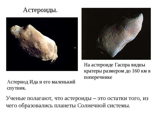Астероиды. Астериод Ида и его маленький спутник. На астероиде Гаспра видны кр...