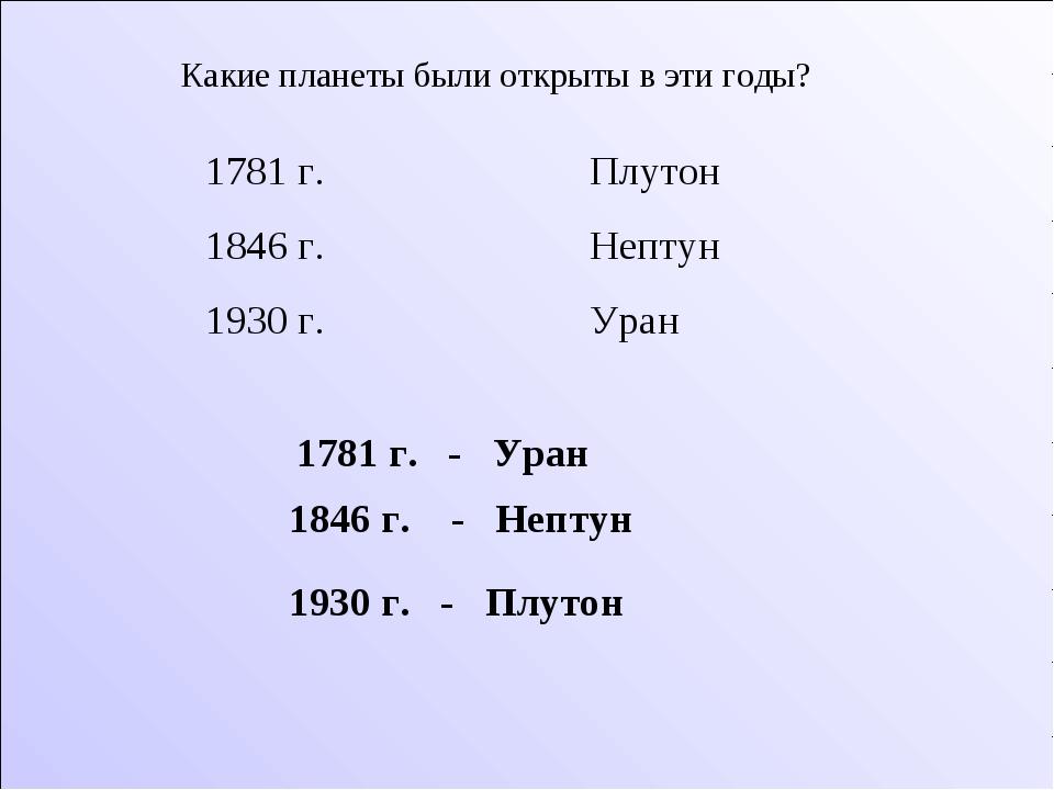 Какие планеты были открыты в эти годы? 1781 г. Плутон 1846 г. Нептун 1930 г....