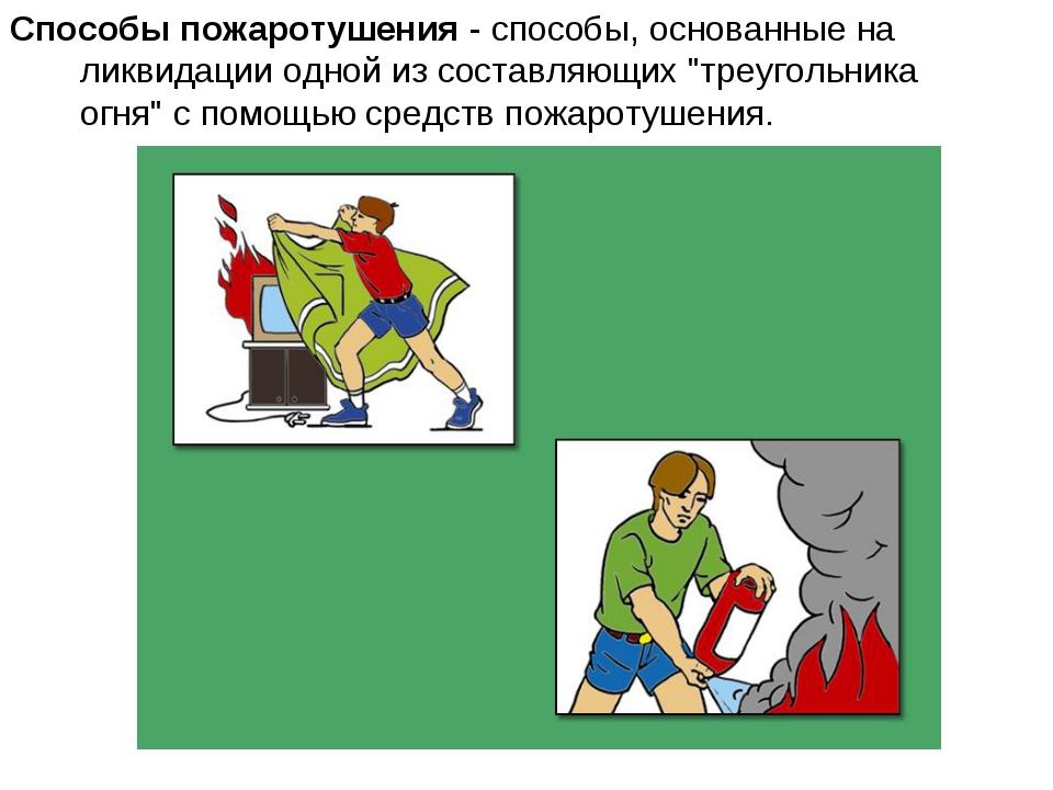 Способы пожаротушения - способы, основанные на ликвидации одной из составляющ...