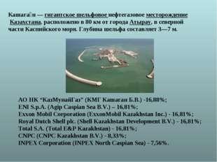 Кашага́н—гигантское шельфовое нефтегазовое месторождение Казахстана, распо