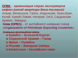 ОПЕК – организация стран экспортеров нефти (штаб-квартира Вена-Австрия): Алж