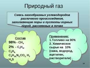* Природный газ Смесь газообразных углеводородов различного происхождения, за