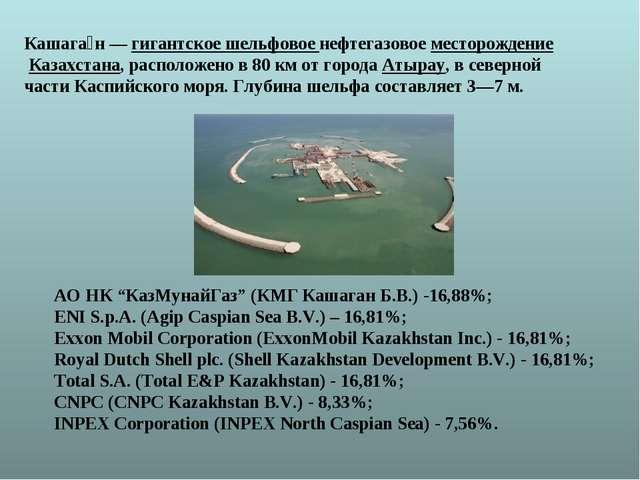 Кашага́н—гигантское шельфовое нефтегазовое месторождение Казахстана, распо...